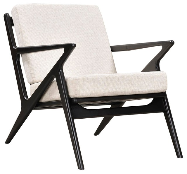 Mid Century Modern Arm Chair, Black Z Frame Chair, Off White Midcentury
