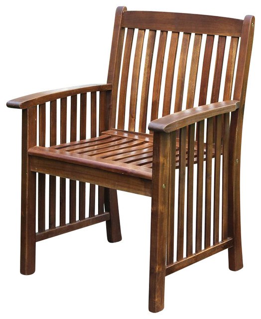 Wood Denver Patio Dining Chair Set Of 2 Traditional Outdoor Lounge Chairs By Shopladder