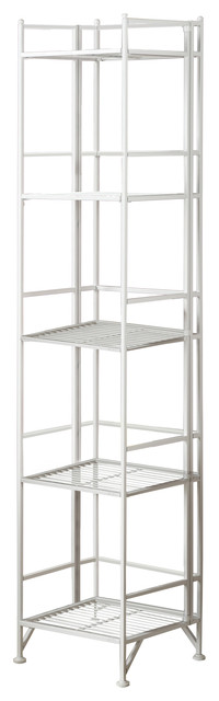 5-Tier Folding Metal Shelf, White modern-utility-shelves