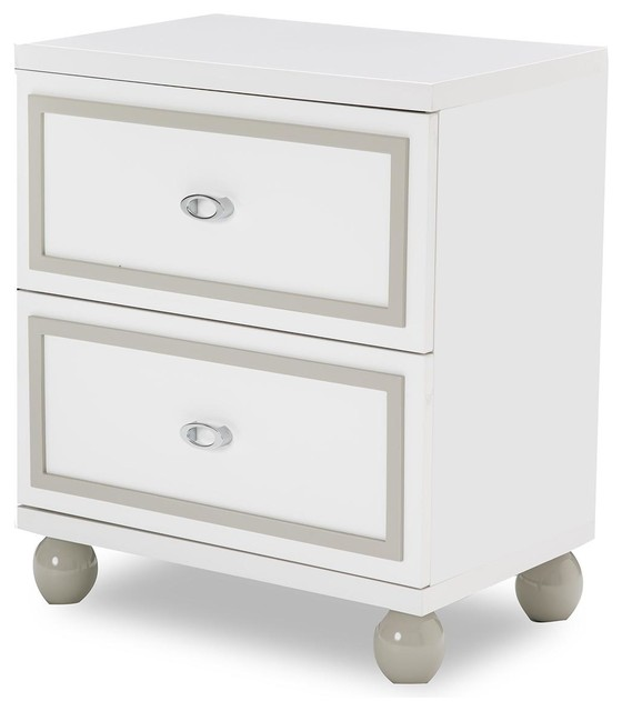 AICO Sky Tower 2 Drawer Nightstand, White Cloud 9025640-108 by Michael Amini
