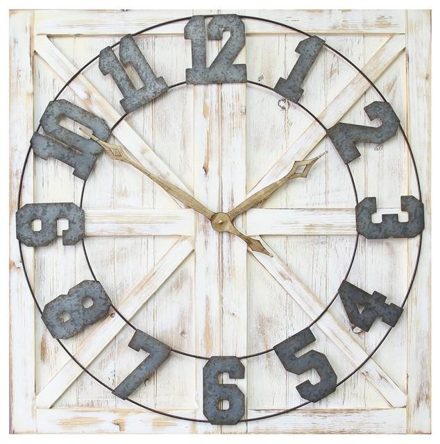 01100d8d6 Stratton Home Decor Rustic Farmhouse Wall Clock - Farmhouse - Wall Clocks -  by ergode