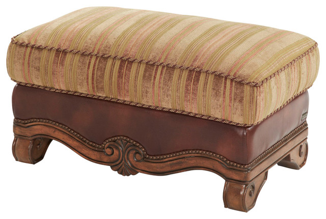 Awe Inspiring Aico Tuscano Wood Trim Leather And Fabric Ottoman Olive Evergreenethics Interior Chair Design Evergreenethicsorg
