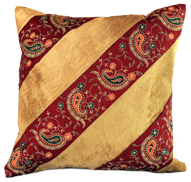 velvet hand embroidered pillow cover set of 2 gold