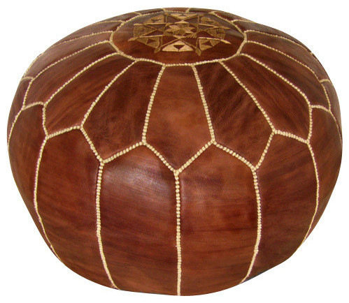 Delia Leather Pouf, Brown