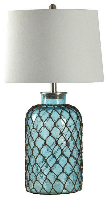 Nautical Net Table Lamp, Blue Seeded Glass Finish, Off-White Shade.