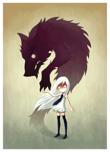 anime girl and wolf wall sticker decal werewolf by indre