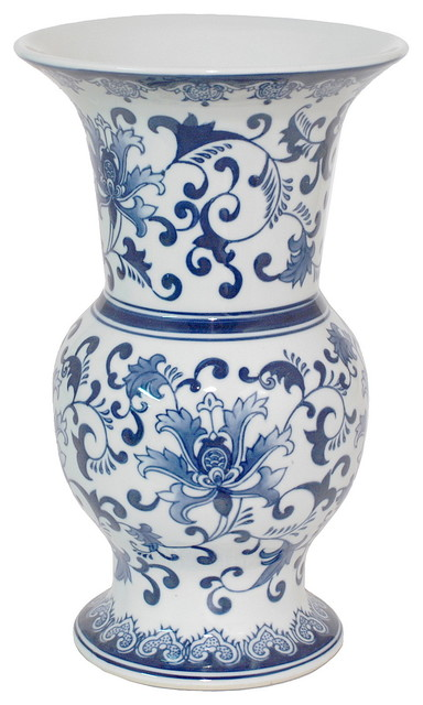 Three Hands Blue And White Vase Asian Vases By Three Hands Corp