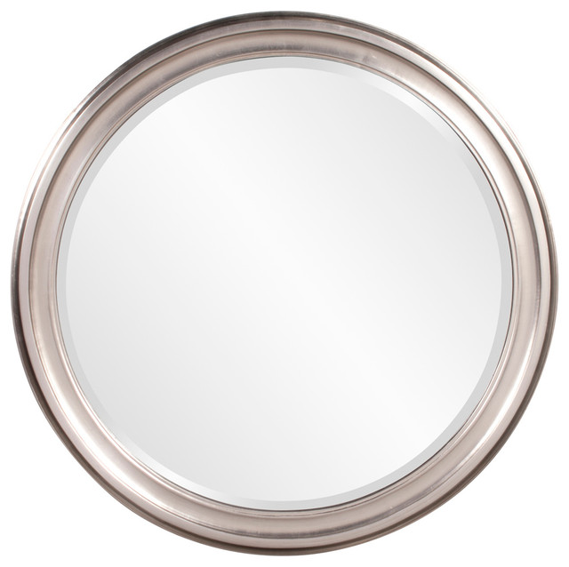 George Brushed Nickel Round Mirror.