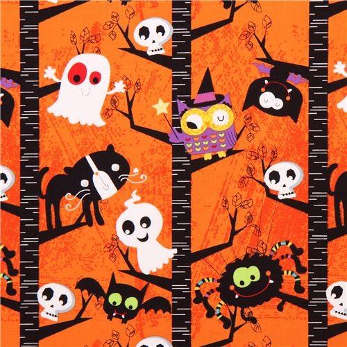 orange Halloween fabric Slime Time ghost cat owl tree