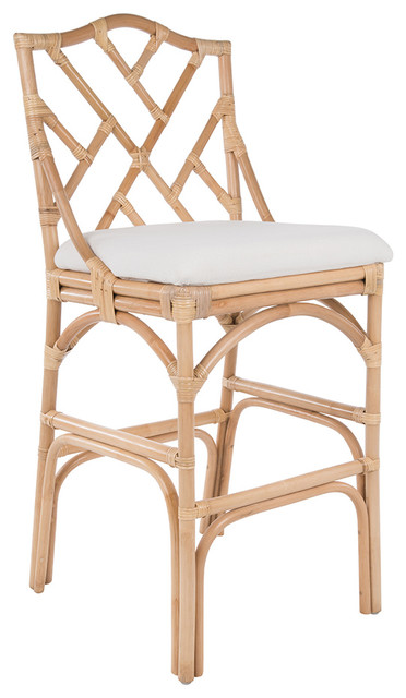 Chippendale Rattan Stool Natural Color With Off White Upholstery Barstool