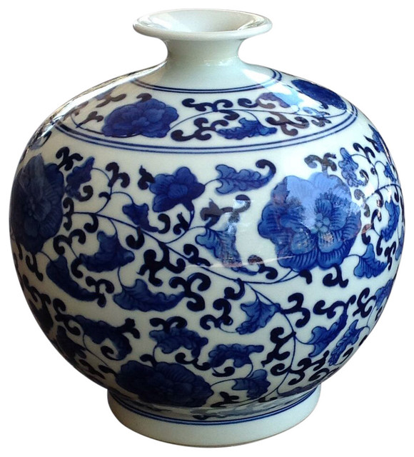 Classic Chinese Vintage Blue And White Floral Globe Porcelain