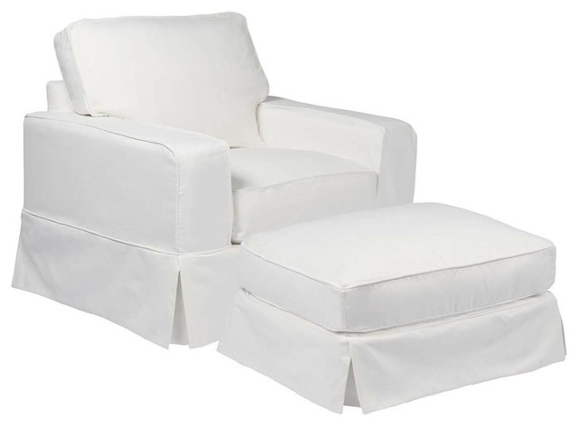 Stupendous Box Cushion Chair And Ottoman Slipcover Set Performance Fabric White Caraccident5 Cool Chair Designs And Ideas Caraccident5Info