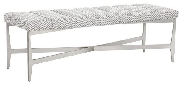 Bench With Tufted Fabric, Brushed Stainless Steel Frame.