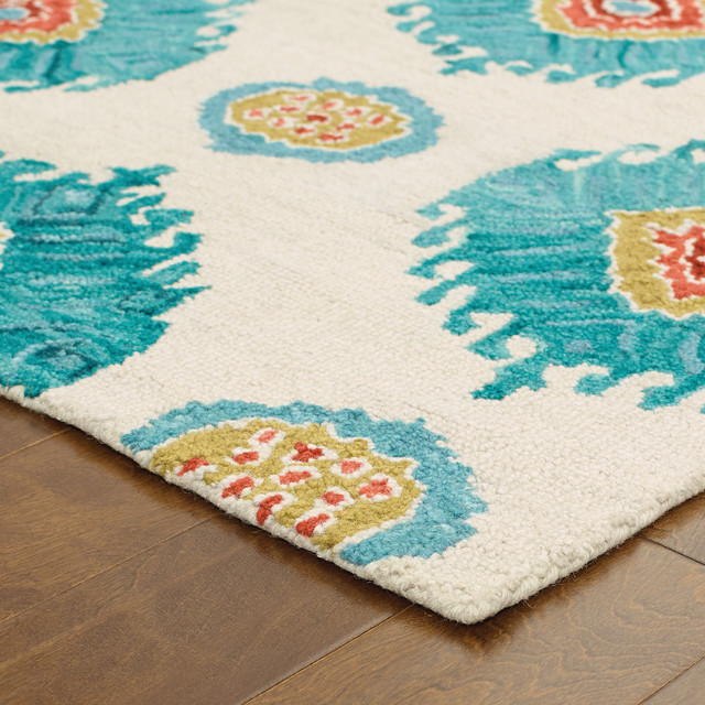 Tommy Bahama Jamison Hand Crafted Wool Floral Beige Blue Area Rug Mediterranean Area Rugs By Oriental Weavers Usa Inc
