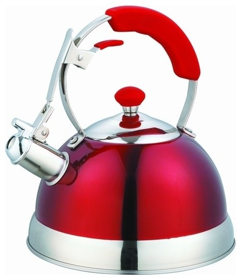 Heavy Duty Stianless Steel Metallic Red Whistling Kettle.