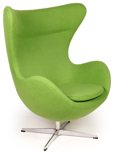 Green Chairs cashmere wool upholstery egg chair - midcentury - armchairs and