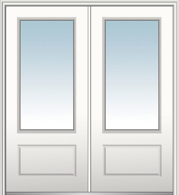 "Classic Fiberglass Smooth Double Door 3/4-Lite, 74"", Hand In-Swing: Left."