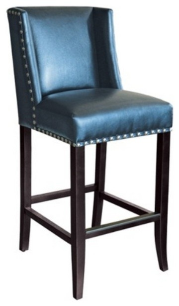 Wing Back Bar Stool Blue Leather With Silver Nailhead