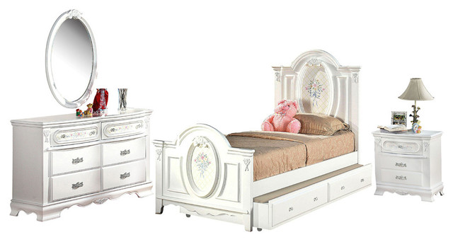 Florie 4-Piece Bedroom Set, White, Twin, With Trundle