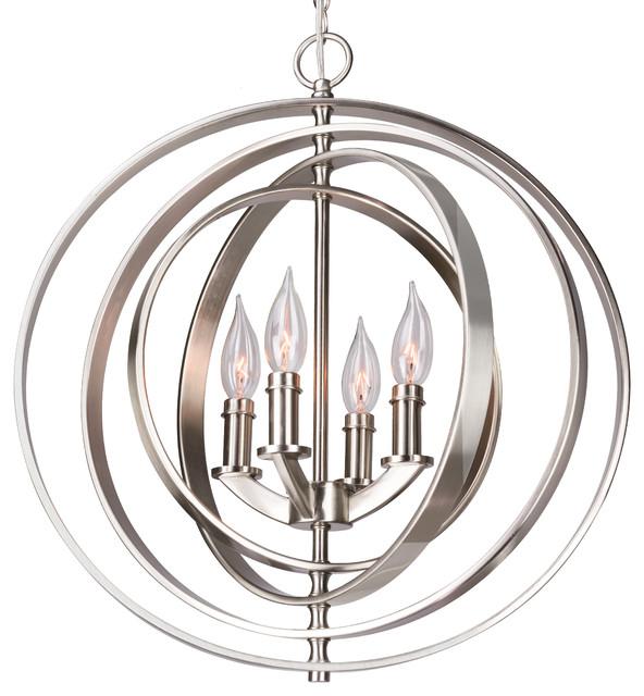 Orbits 18 4 Light Modern Sphere Orb Chandelier Brushed Nickel Finish Contemporary