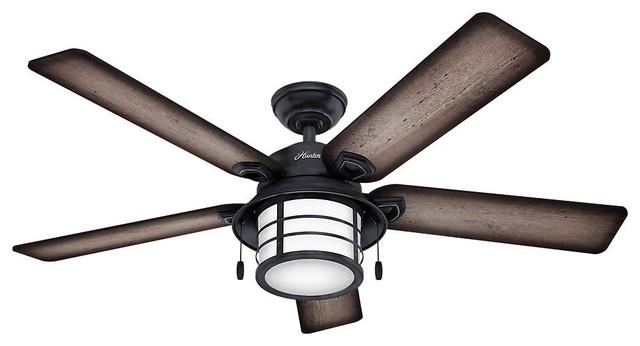 "Hunter 59135 Key Biscayne 54"" Weathered Zinc Ceiling Fan."