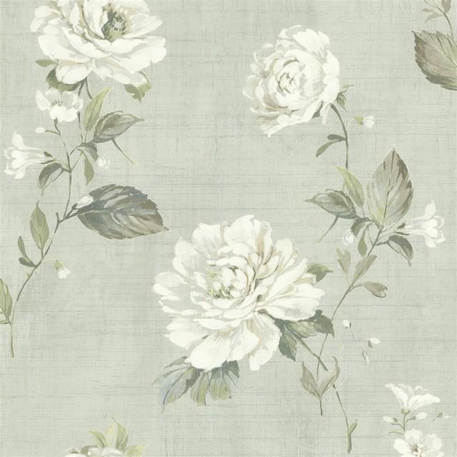 Bainbridge Linen Blossom Wallpaper In Seafoam Traditional Wallpaper