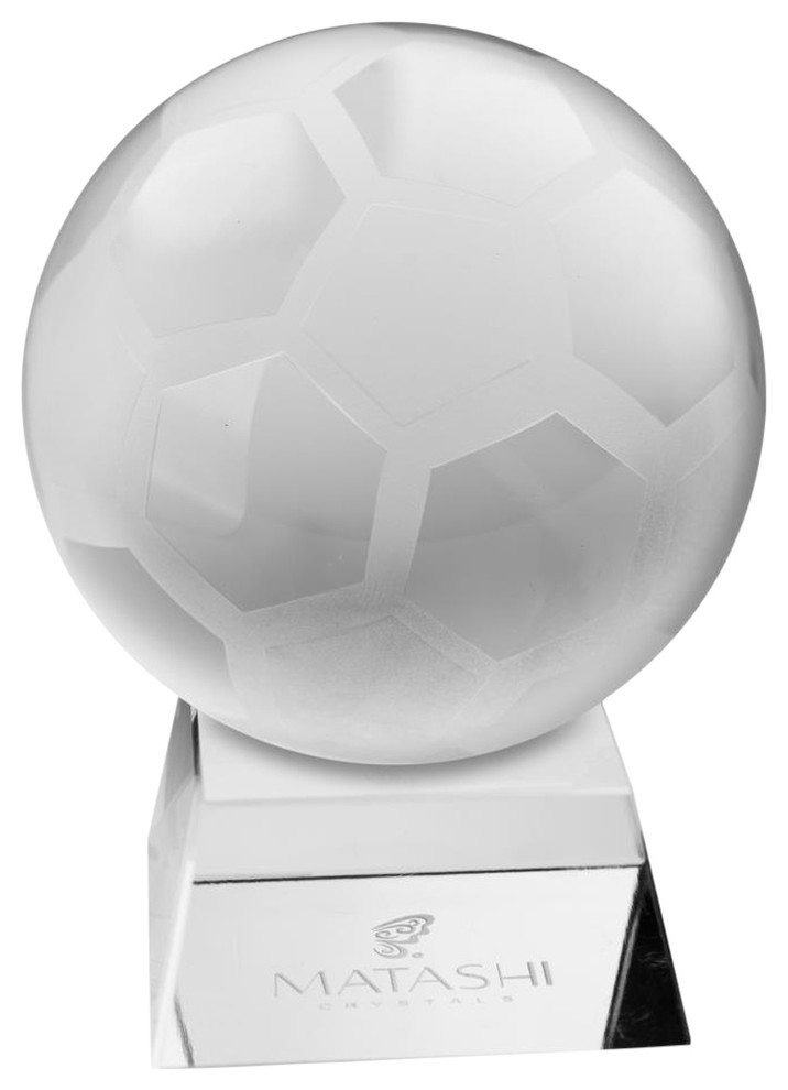 Crystal Paperweight w// Etched Soccer Ball Ornament and Trapezoid Base by Matashi