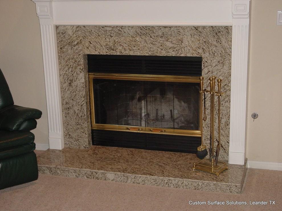 Fireplace Granite Tile Traditional, Black Granite Tile Fireplace Surround