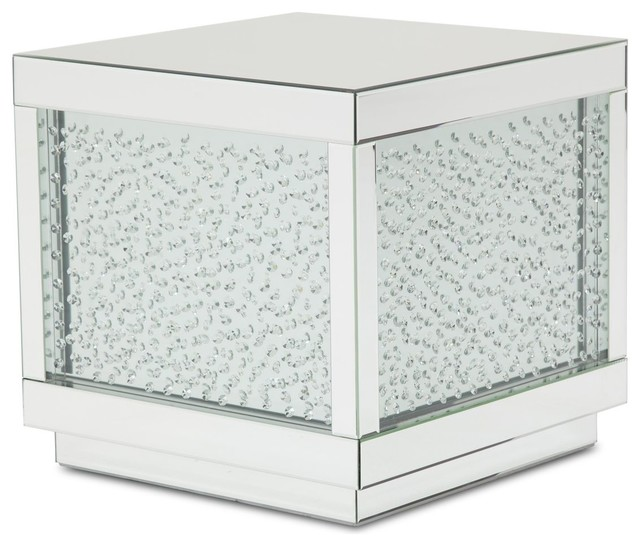 Aico Montreal Silver Mirrored End Table With Crystals.