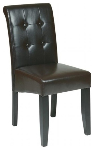 bonded leather parsons chair espresso transitional dining chairs