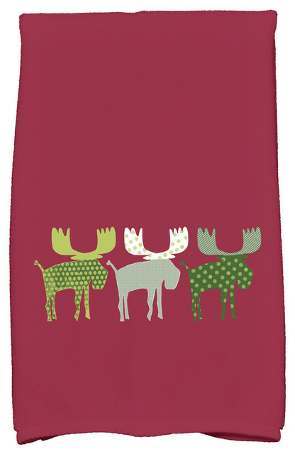 Merry Moose Decorative Holiday Animal Print Hand Towel Cranberry