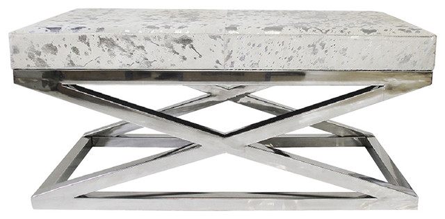 Forest Collection Cowhide Silver Bench.