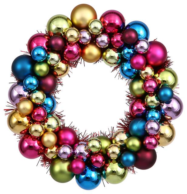 """12"""" Multi Colored Ball Wreath."""