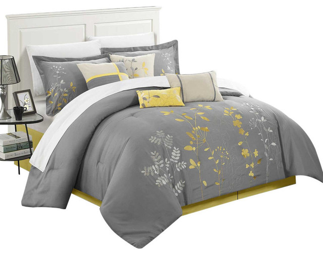 Brooke Bliss Garden Embroidered 8 Piece Comforter Set King Yellow