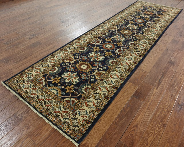 Contemporary Plain Gold 10/' Runner Gabbeh Oriental Hand-Knotted Wool Rug 3/'x10/'