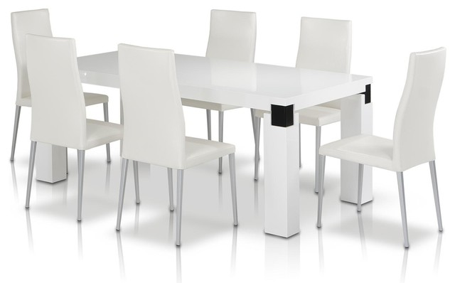 Escape 71 White High Gloss Veneer Finish Dining Table With Black Accents Modern