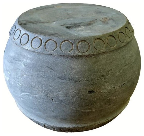 Small Round Stone Pedestal Or Stool