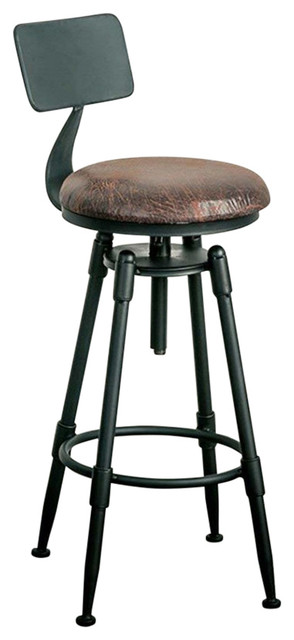 Bar Stool, Steel Metal With Adjustable Height and Backrest Inclination Angle