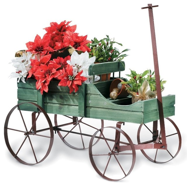 Amish wagon decorative garden planter green for Decorative outdoor pots