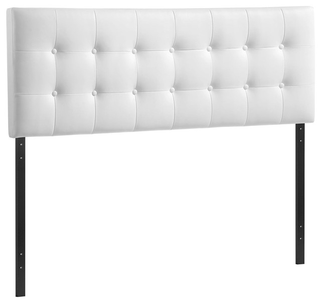 Modway Furniture Emily Queen Vinyl Headboard, White.
