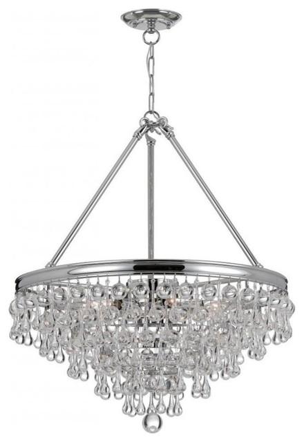 crystorama calypso 8 light crystal teardrop chrome chandelier