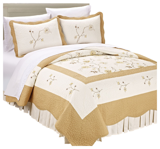 Serenta Spring Flowers Bedspread Quilt 3 Piece Bed Sets