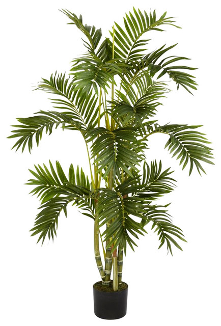4 ft. Areca Palm Silk Tree in Green