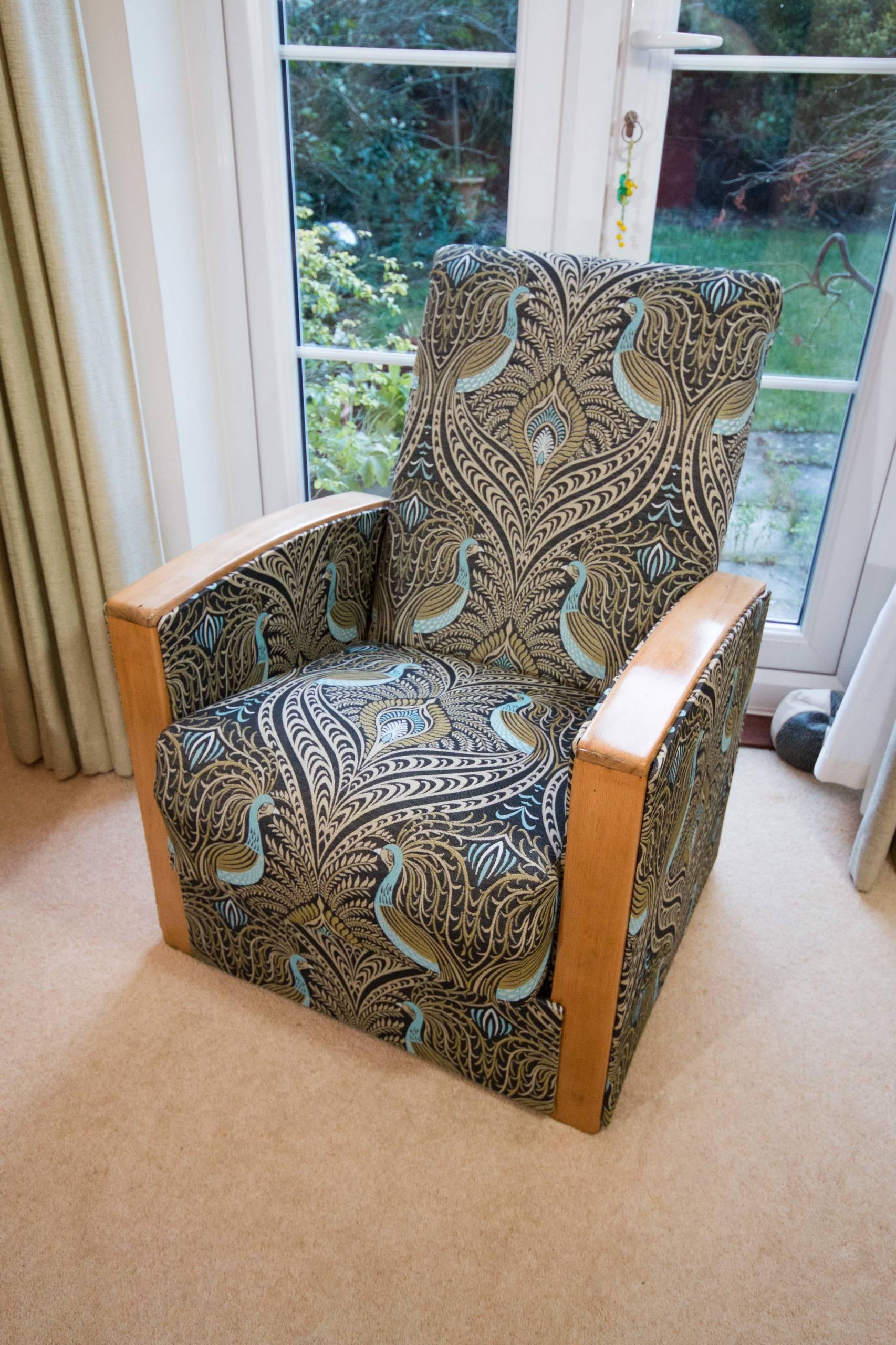 Art Deco recliner armchair