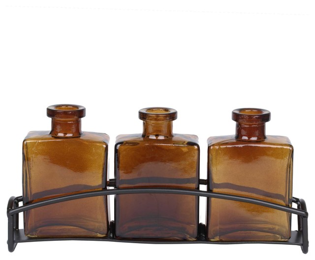 Couronne Co. Rio Three Recycled Glass Vases and Metal Stand, Dark Amber