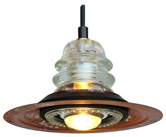 Railroadware insulator metal hood pendant light for Insulator pendant light