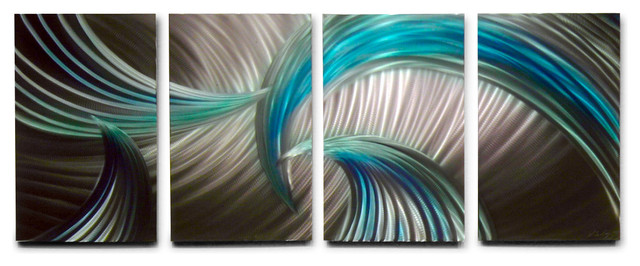 Metal Wall Art Decor Abstract Contemporary Modern Sculpture Tempest Blue Green