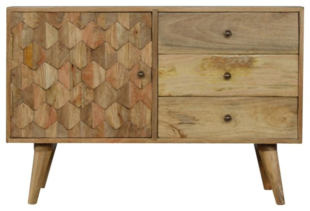 3-Drawer Solid Wood Cabinet with Pineapple Carved Door Front, Oak Finish
