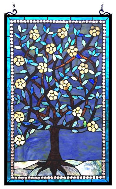 "WOODLEY, Tiffany-glass ""Tree of Life"" Window Panel, 20x32"
