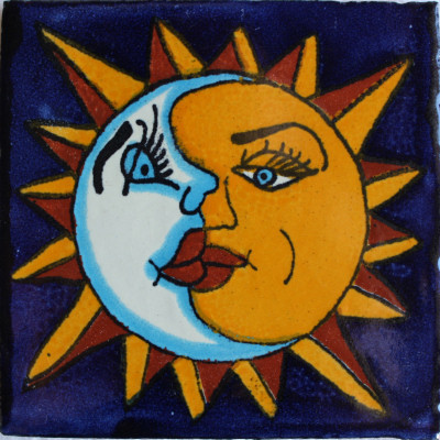 4 2x4 2 9 Pcs Sun And Moon Talavera Mexican Tile